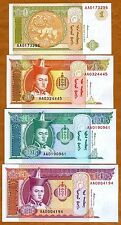 SET Mongolia, 1;5;10;20 Tugrik, ND (1993), Pick 52-53-54-55, AA-prefix, UNC