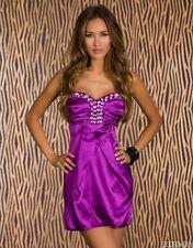 *♥*Sexy Mini Cocktail-Kleid Satin Abendkleid Diamant-Steinchen  Größe 34/36 Lila
