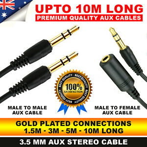 AUX Cable Male to Male to Female  Audio 3.5mm Headphone Stereo Extension Cord