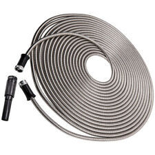Stainless Steel Garden Water Hose Pipe 75ft Lightweight Adjustable Nozzle