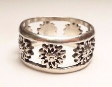 VINTAGE FLOWER BEAUTIFUL BAND LADIES RING STERLING SILVER 925 SIZE 8.75