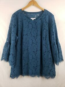 ISAACMIZRAHI LIVE Women's Size XL Teal Blue Lace Bell Sleeve Elegant Top
