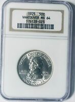 1925 Vancouver Commemorative Silver Half Dollar- NGC MS 64 - Mint State 64