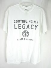 """Gold's Gym Men's T-Shirt Large White """"Legacy... Silver and Strong""""  O"""