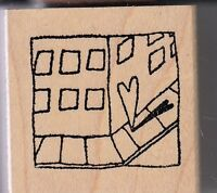 "love around the corner heart Wood Mounted Rubber Stamp 1 1/2 x 1 1/2"" free ship"