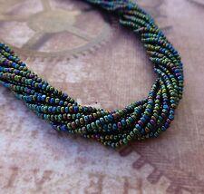 6 Strands Green Iris Glass Seed Beads Charlotte Tiny Preciosa Beads
