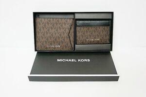 MICHAEL KORS MENS GIFTING BILLFOLD CC BOX SET MK BLACK/BROWN/ADMIRAL $168
