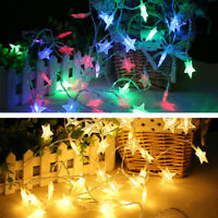 20 LED Battery Operated Star String Fairy Lights Christmas Party Outdoor Decor