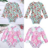 US Baby Girl Long Sleeve Swimwear Floral Ruffle Swimsuit Bathing Suit Rash Guard