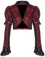 Punk Rave Womens Gothic Cropped Jacket Black Red Brocade Damask Bolero Vampire