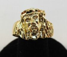 SIZE 8 MENS 14KT GOLD EP RELIGOUS JESUS FACE RING -J1