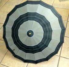 Umbrella Parasol Black Grey Plaid Stripe Amber Lucite Handle Finial Mid Century