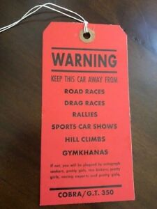 Shelby Cobra and Shelby GT350 Original Dash Tag Warning Tag