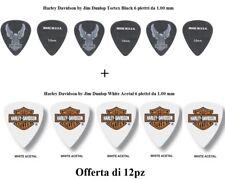 12 Plettri DUNLOP  1mm Harley Davidson Black Tortex Eagle 6pz + White Acetal 6pz