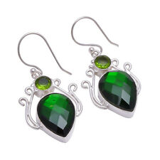 925 Sterling Silver Overlay Earrings, Chrome Handmade Gemstone Jewelry PE573