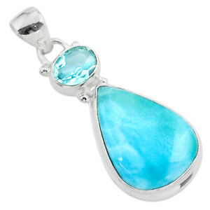 14.47cts Natural Blue Larimar Topaz 925 Sterling Silver Pendant Jewelry T24547