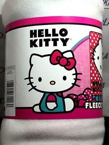 """Sanrio/'s Hello Kitty /""""Polka Dot Kitty 45/"""" X 60/"""" Fleece Throw  Red//Black// White"""