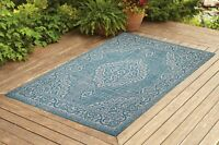 Contemporary Indoor/ Outdoor Sisal Area Rug for Garage, Garden Kitchen Turquoise