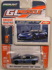 BLUE 2011 CHEVROLET CORVETTE Z06 GREENLIGHT 1:64 SCALE DIECAST METAL MODEL CAR
