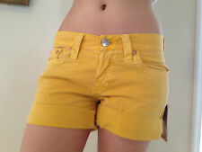 True Religion SHORTS ROMY BOYFRIEND Sunflower Yellow Size 25 NEW