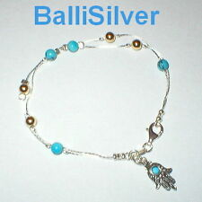 925 Sterling Silver TURQUOISE & GOLD FILLED Beads BRACELET with Hamsa Charm