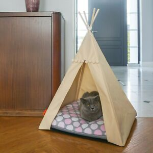 Cat Teepee bed - Pink Dots, cat bed including pillow*luxury cat house*cat tent