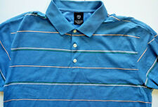 Nike Golf Mens Polo Shirt L Large Striped Blue Button Swoosh