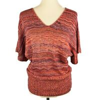 August Silk Womens Crochet Pullover Knit Top Short Dolman Sleeve Size Large