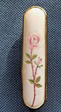 Vintage Clothes Brush Perfect Rose Embroidered In Silk Top Gilt metal edges