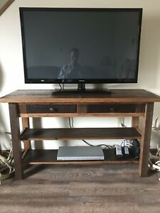 Amish built reclaimed solid oak TV stand