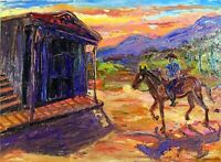 Arthur Robins Original OIL NYC Art WESTERN Horses Landscape Cowboy SALOON TIME