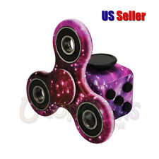 Purple Sky Fidget Cube + Hand Finger Spinner Anxiety Stress Relief Focus Toy