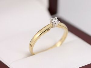 Diamond Solitaire Ring 10ct Gold Beautiful Ladies Size S Z60