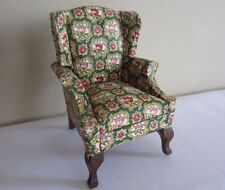 Dollhouse Miniature Furniture Upholstered Tulip Fabric Queen Anne Wing Arm Chair