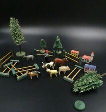 JOUET JEU ANCIEN MINIATURE EN BOIS LA FERME LE FERMIER LES ANIMAUX LES ARBRES