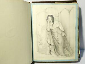 "Emma Hutton 1839-1856 Poems Prints Art Sketches Scrapbook Very Nice 29x9.5 """