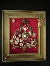 Vintage Jewelry Art Christmas Tree Framed Red Gold Green