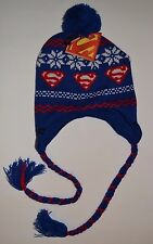 SUPERMAN Ugly Sweater Laplander Adult Pom Pom Ski Winter Hat Licensed DC Comics
