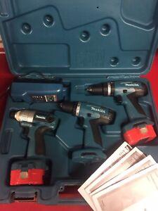 Makita Hammer, Impact Drill Set in Case 6281D, 8281D, 6935FD. 2 Good Batteries.