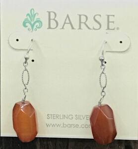 Barse Carnelian Ingot Earrings- Sterling Silver- New With Tags