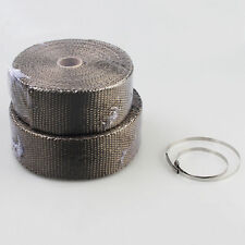 "Cars Titanium Heat Wrap 2"" x 5M Exhaust Insulating Tape Downpipe Manifold + ties"