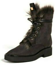 Stuart Weitzman Jissika Women's Suede & Sheepskin Ankle Boots in Asphalt Size 8