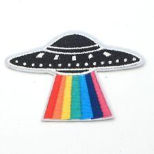Rainbow UFO Iron On Patch Space X Files 90s Alien Abduction Badge/Applique/Trans