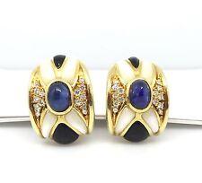 zafiro, diamante y ONIX Diamante Pendientes en 18ct Oro Amarillo - hm1451