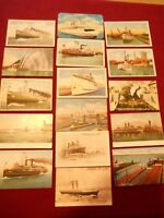 "16 VINTAGE POSTCARDS OF ""SHIPS"" - MIXED LOT - UNUSED & POSTMARKED"