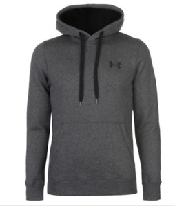 UNDER ARMOUR Mens Carbon Grey Rival Fitted Hooded Sweater Hoodie Top XXL BNWT