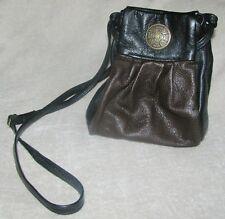 "NERICCIO Leather Crossbody Draw Strap Bag Purse  9""  BLACK/BROWN"