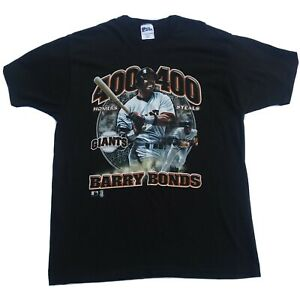 Vintage Barry Bonds Tshirt Pro Player size Large Made in USA Black 100% Cotton