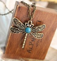NEW HOT Vintage Retro Blue Dragonfly Pendant Necklace Chain Jewelry Gift