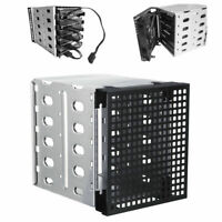 5x 3.5'' SATA SAS HDD 5.25'' Cage Rack Hard Driver Tray Caddy Bay with Fan Space
